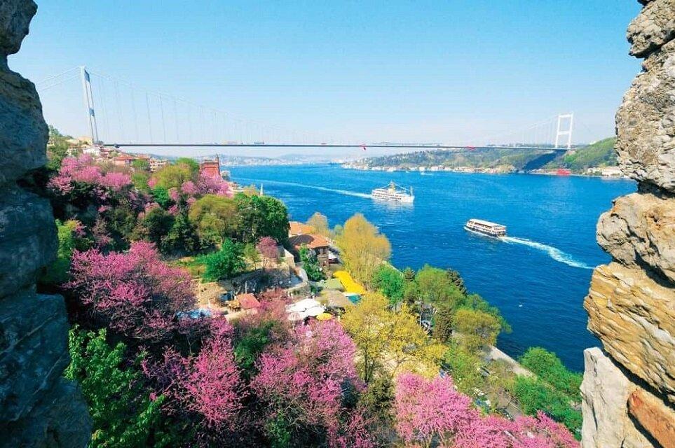 İstanbul Boğazı-Rumeli Hisarı'ndan erguvanlar
