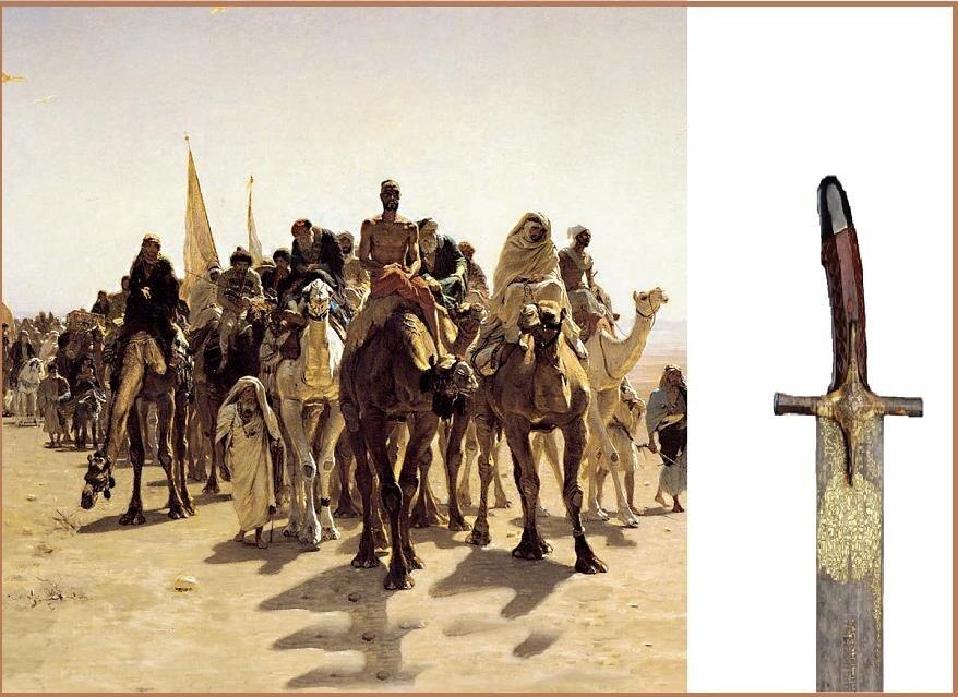 """Leon Belly'e ait """"Pilgrims going to Mecca"""" (Mekke'ye giden hacılar) isimli tablo (1861).-Topkapı sarayında gerçekleştirilen """"Osmanlı Devleti'nde Ehl-i Beyt Sevgisi"""" adlı sergide, Hz. Muhammed'in ailesine ait olup Mukaddes Emanetler Dairesi'nde kat kat bohçalar içinde muhafaza edilen hatıralar sergilenmişti.Hz. Ali'ye ait olduğu tespit edilen bu göz alıcı kılıç, serginin en önemli parçalarından biri olarak sunulmuştu."""