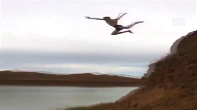 Göle atlayayım derken toprağa çakıldı!