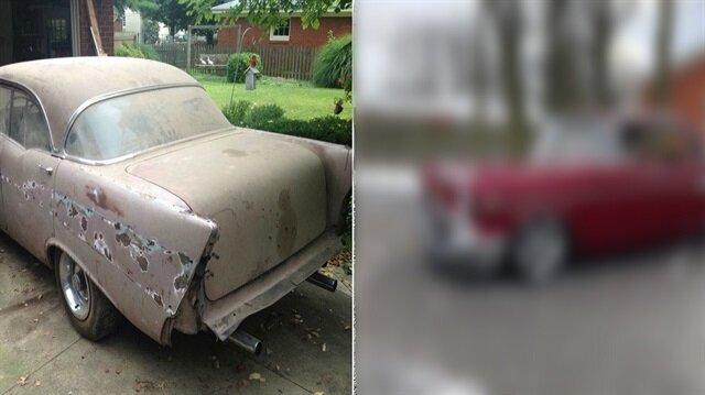 Dedesine doğum günü hediyesi olarak 61 yıllık arabayı restore etti