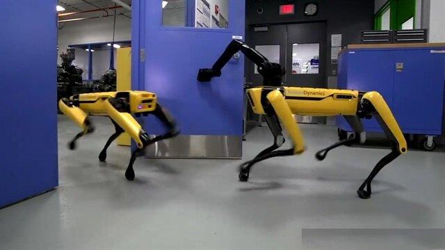 Robot arkadaşı için kapıyı açan robot