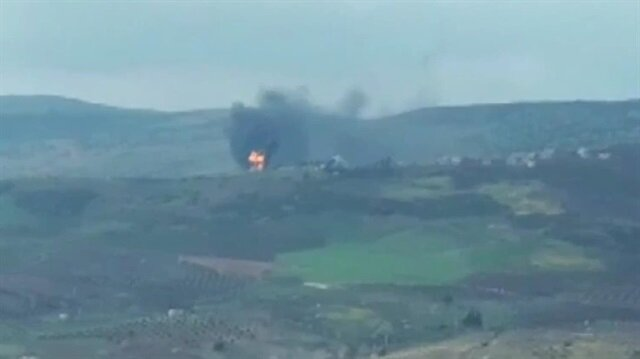 Afrin'de teröristlerin cephaneliği imha edildi