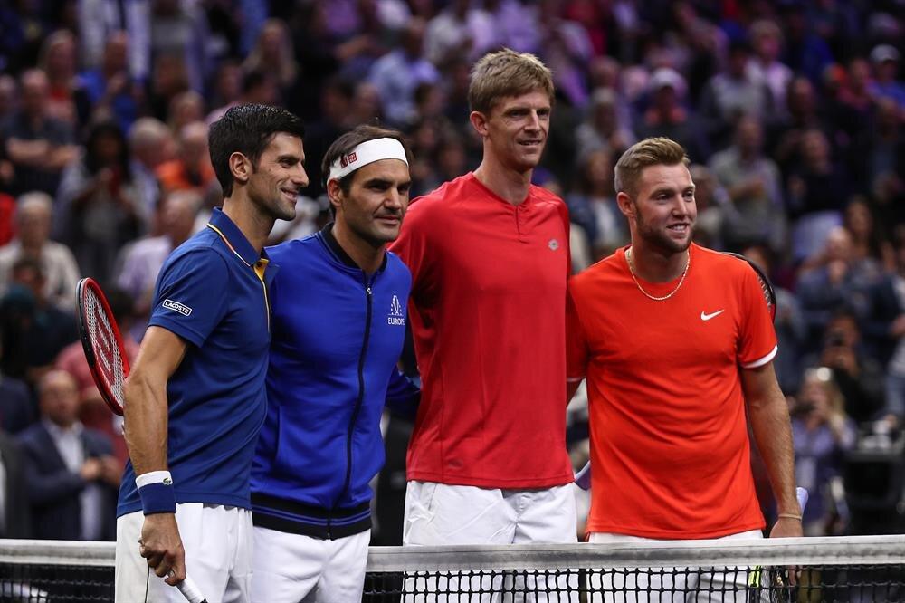 Federer ve Djokovic çiftini yenen Sock ve Anderson.