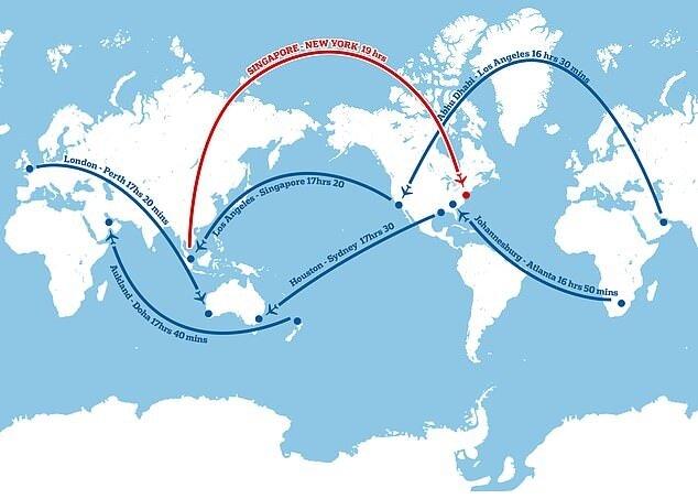 Dünyanın en uzun ticari uçuşlarından bazılarını gösteren bir harita