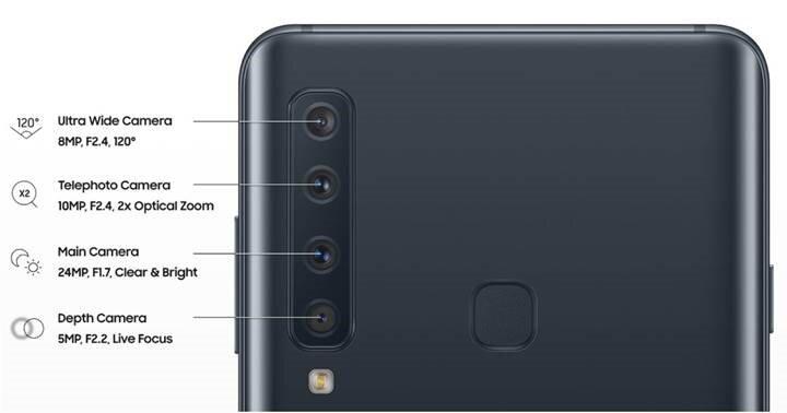 Samsung Galaxy A9'da alt alta dizilmiş dört kameranın yer alması bekleniyor.