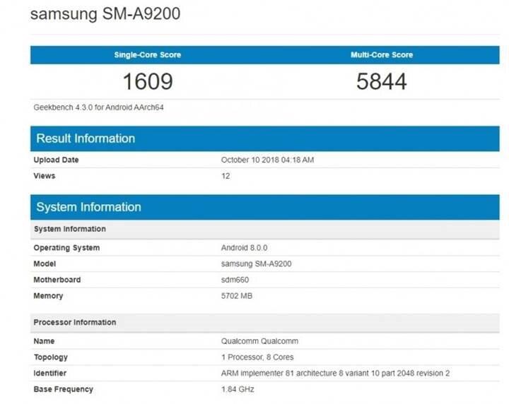 Geekbench testlerine göre Samsung Galaxy A9'un tek çekirdekte elde ettiği rakam 1609 puan. Öte yandan çift çekirdekte ise bu rakam 5844.