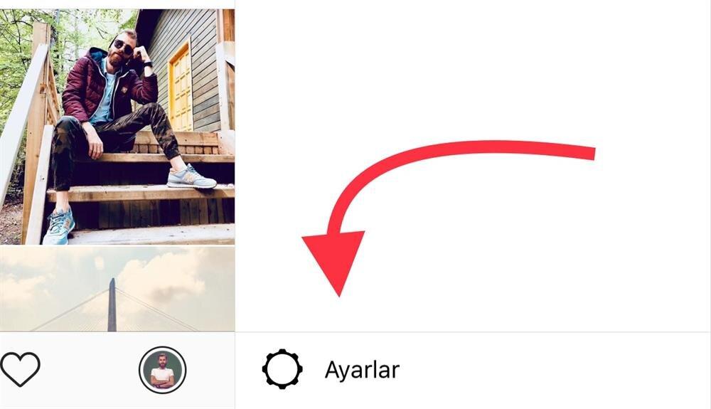 İlk etapta Instagram'daki Ayarlar düğmesiyle alt seçeneklere erişmek gerekiyor.