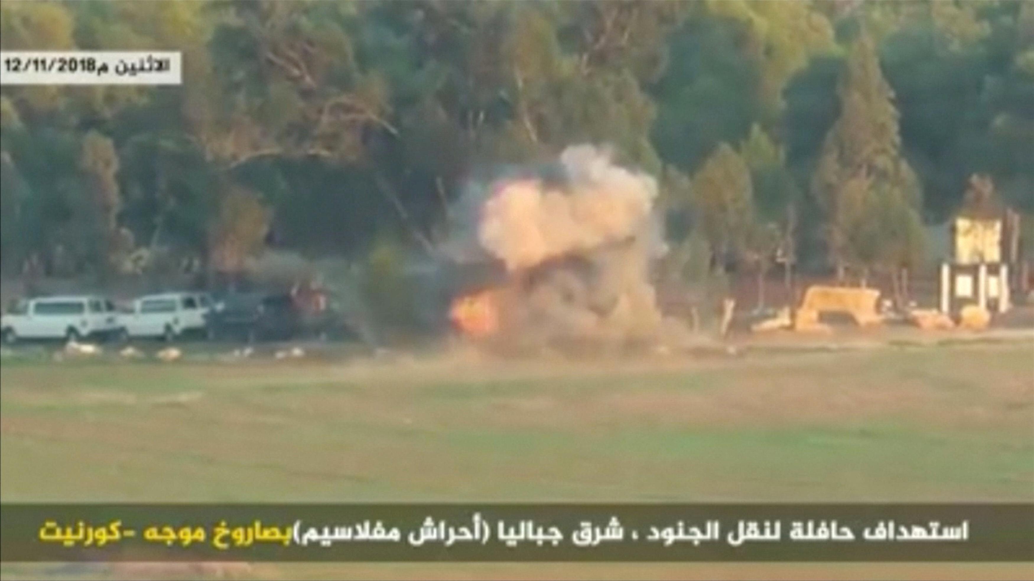 Filistinli direniş hareketlerinin yaptığı saldırılar sonucu İsrail devletine ait bir askeri otobüs vuruldu.