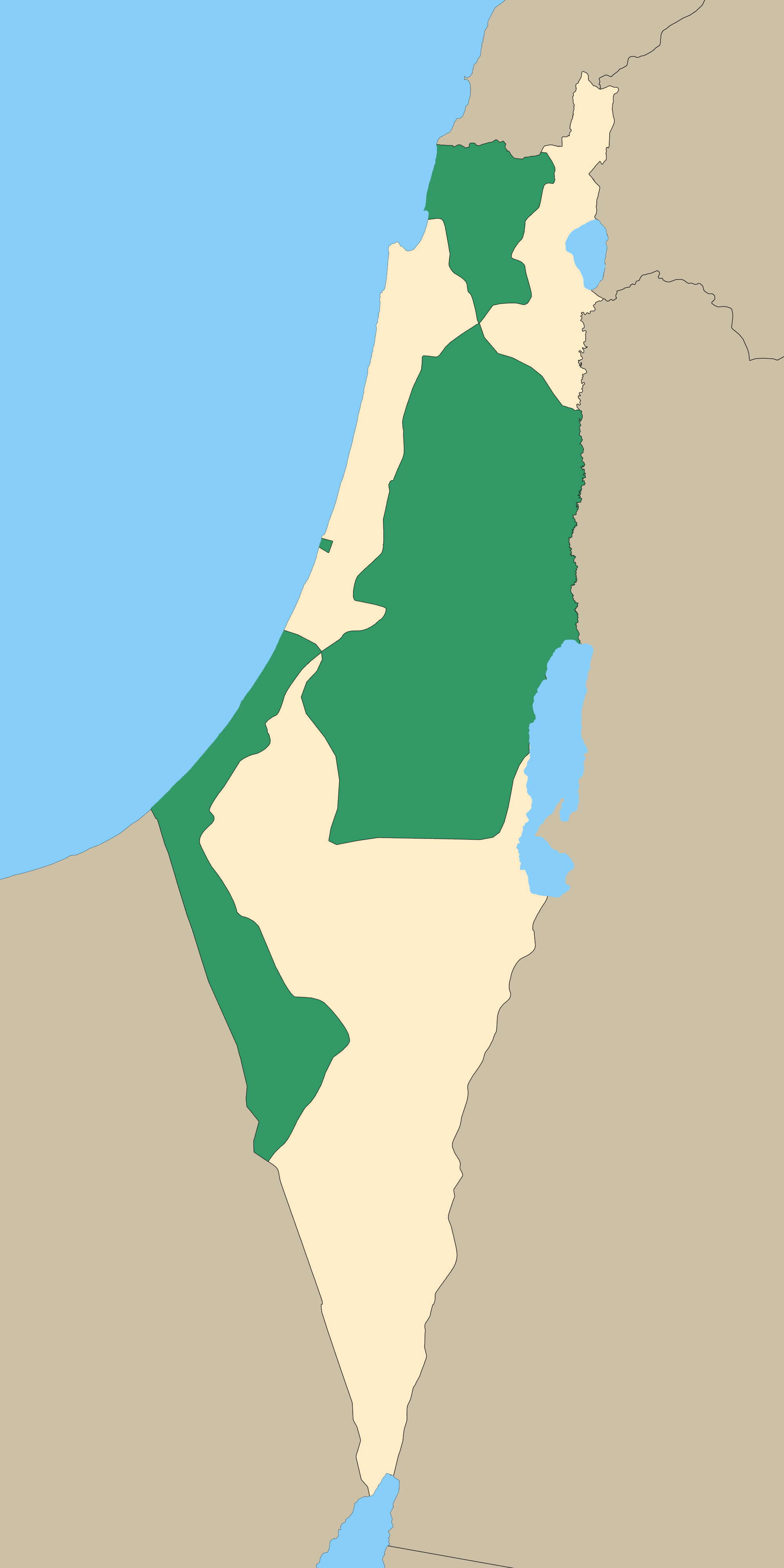 .181 no'lu Birleşmiş Milletler Kararı'na göre Filistin'in taksimi.
