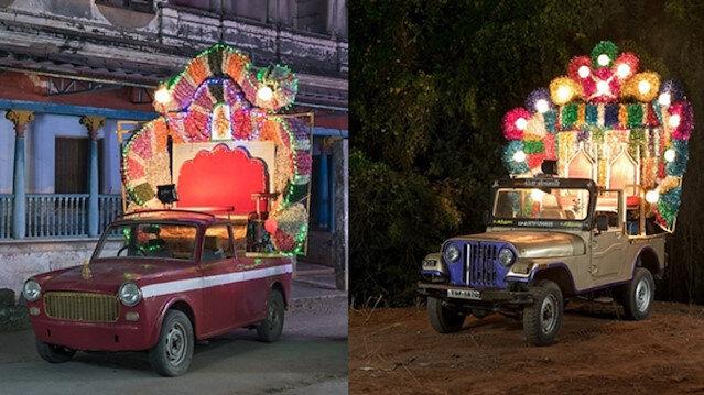 Düğün arabası tasarımlarına Hintlilerden yeni bir boyut