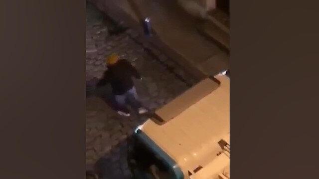 Gece yarısı çöp komyonuna atarlanan adam