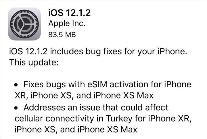 Yeni iOS güncellemesi 83.5 MB boyutunda.