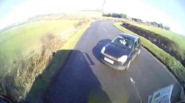 Yüksek hızla viraj giren sürücü facianın eşiğinden böyle döndü