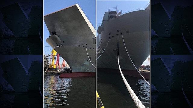 Yapımı devam eden TCG Anadolu ilk kez yüzer konuma getirildi