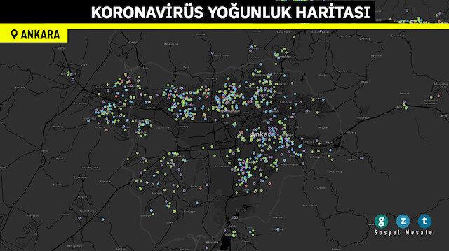 Konum bazlı koronavirüs yoğunluk haritaları