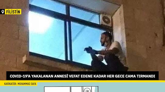 Koronavirüse yakalanan annesini görmek için her gece cama tırmandı