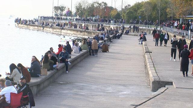İstanbul'da kısıtlama bitti, sahillerde yoğunluk oluştu