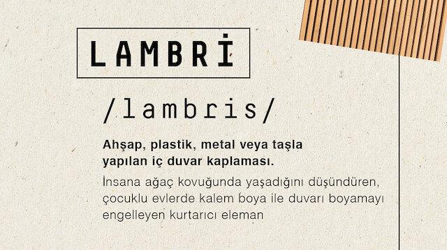 Mimarlık sözlüğünde 'Lambri'