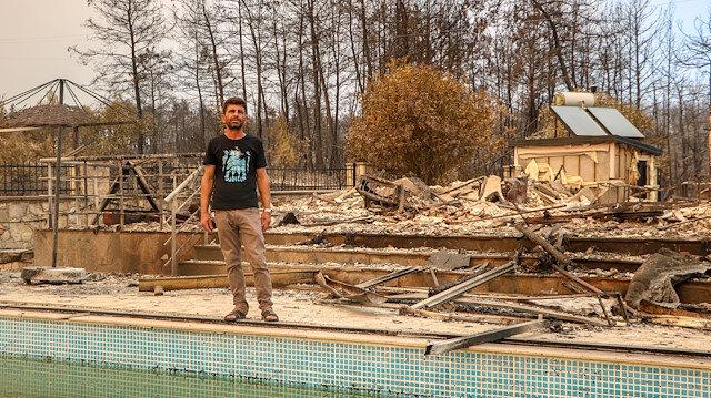 Havuz 6 kişilik aileyi yangından kurtardı